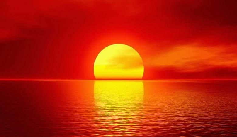 В Калифорнии солнце, не дотянув до горизонта, село в океан. солнце