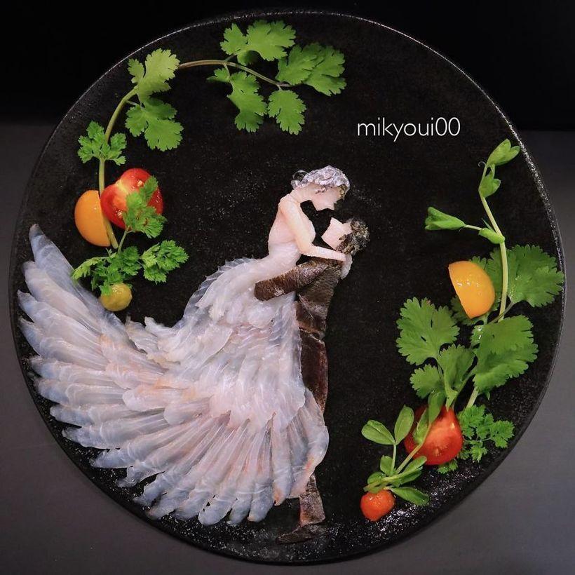 Mikyoui0 поразил пользователей картинами из рыбы. картина