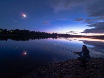 Ловля леща на полудонку ночью